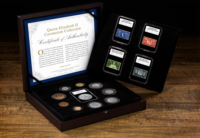 UK 1953 coronation coin and stamp set box - Unboxing a complete set of 1953 coins and stamps