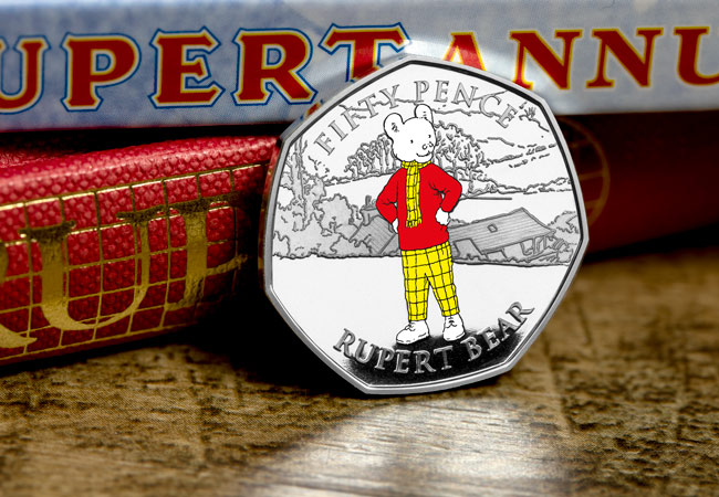 LS 2020 IOM Silver proof with colour print 50p Rupert single lifestyle - Rupert Bear features on BRAND NEW 50p! New designs revealed...