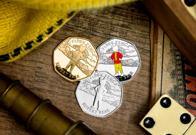 LS 2020 IOM all three metals range Rupert 50p Lifestyle - Rupert Bear features on BRAND NEW 50p! New designs revealed...