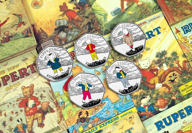 LS IOM Silver Proof with spot colour Rupert 50p set Lifestyle - Rupert Bear features on BRAND NEW 50p! New designs revealed...