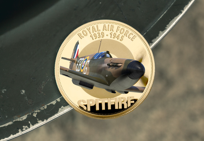 LS 2020 RAF 1939 1945 Spitfire round 50p Gold with colour lifestyle 4 - First Look: New coins issued to mark the 80th Anniversary of the Battle of Britain…