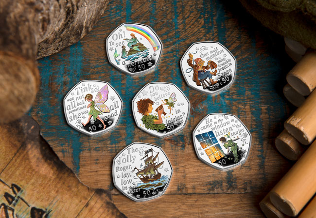 LS 2020 IOM Silver proof with colour print 50p Peter Pan set of 6 Lifestyle - Are you ready to return to Neverland? First look at the BRAND NEW Peter Pan 50p Coins…