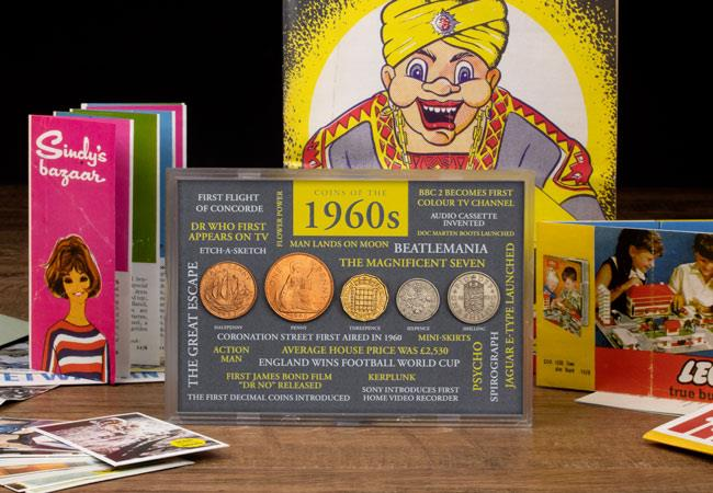 ls uk 1960 coins in frame with replica memorabilia lifestyle 2 - Six icons we owe to the Sixties