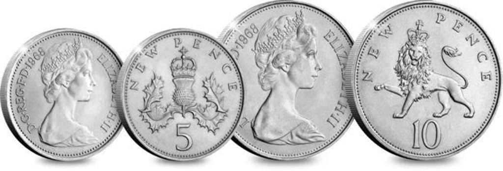 st uk 1968 first decimalisation 10p and 5p coins comaprison 1024x348 - Six icons we owe to the Sixties