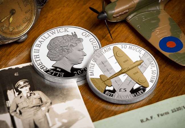 BoB £5 Proof with Gold LIFESTYLE 1 - The day we took 1,000 coins into the sky in an original WWII Spitfire…
