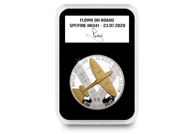 DY Flown Battle of Britain Guernsey Proof £5 with gold product page images  01 2 - The day we took 1,000 coins into the sky in an original WWII Spitfire…
