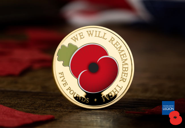Poppy 2020 product Gold Plated CuNi Proof lifestyle - FIRST LOOK at the complete 2020 Remembrance Poppy Coins!