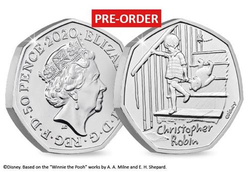 uk 2020 christopher robin bu pack product page images coin obverse reverse with flash - Introducing the BRAND NEW Winnie the Pooh 50p Coin Range