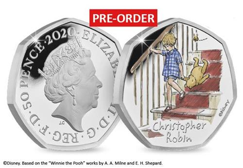 uk 2020 christopher robin silver proof 50p product page images coin obverse reverse with flash 2 - Introducing the BRAND NEW Winnie the Pooh 50p Coin Range