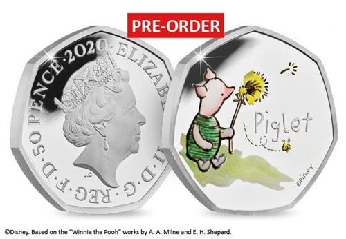 uk 2020 piglet silver proof 50p product page images coin obverse reverse with flash 1 - Introducing the BRAND NEW Winnie the Pooh 50p Coin Range