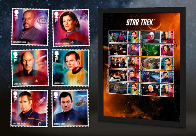2020 star trek stamps collectors frame A4 with stamps - Introducing the brand new Star Trek stamps! Boldly collect where no UK collector has collected before!