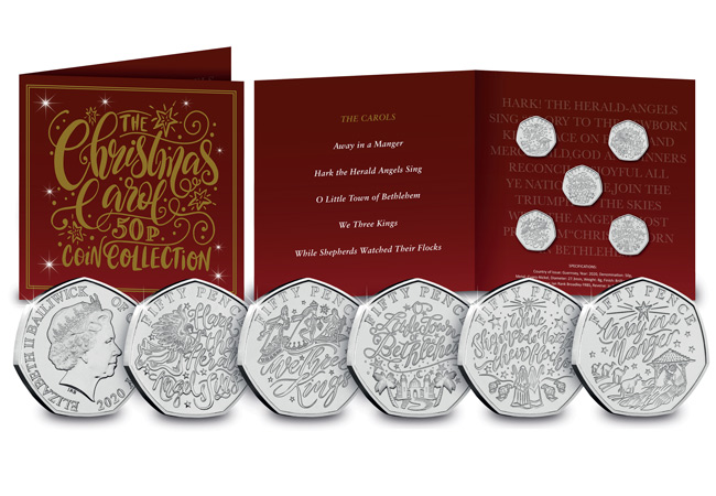 AT Christmas Carol 50p BU set main - FIVE BRAND NEW Christmas Carol 50p COINS REVEALED