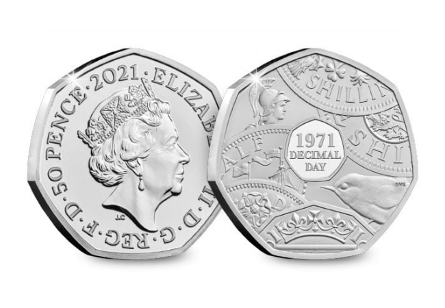 2021 Decimal Day BU 50p - The countries that went Decimal long before the UK...