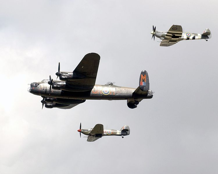 750px A flypast of three planes from the Battle of Britain Memorial Flight during the International Air Day at RNAS Yeovilton. MOD 45145202 - The Avro Lancaster – a historic, aeronautical icon…