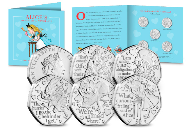 DN 2021 IOM BU 50p Alice in wonderland product images main - Fall down the rabbit hole and discover the BRAND NEW Alice's Adventures in Wonderland 50ps…