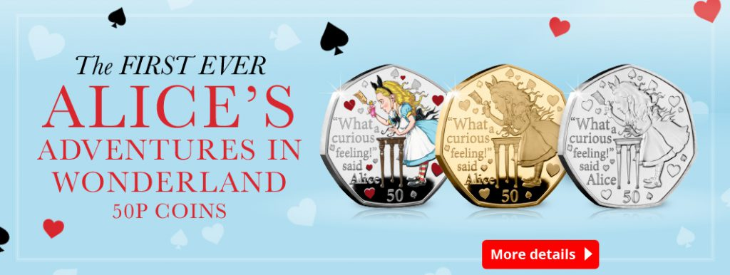 DN 2021 IOM BU Silver colour Gold 50p Alice in wonderland homepage banners 1 1024x386 - Fall down the rabbit hole and discover the BRAND NEW Alice's Adventures in Wonderland 50ps…