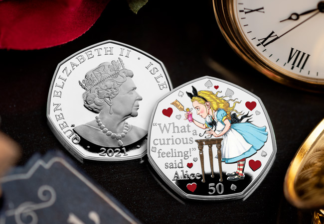 LS 2021 IOM Alice in wonderland silver proof with colour print lifestyle both sides - Fall down the rabbit hole and discover the BRAND NEW Alice's Adventures in Wonderland 50ps…