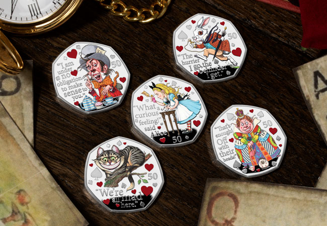 LS 2021 IOM Alice in wonderland silver proof with colour print set lifestyle 2 - Fall down the rabbit hole and discover the BRAND NEW Alice's Adventures in Wonderland 50ps…