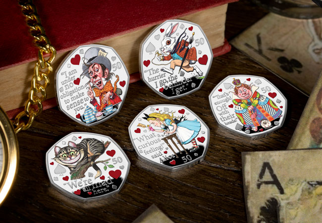 LS 2021 IOM Alice in wonderland silver proof with colour print set lifestyle - Fall down the rabbit hole and discover the BRAND NEW Alice's Adventures in Wonderland 50ps…