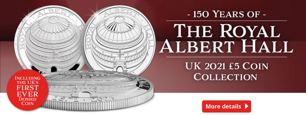 UK 2021 Royal Albert Hall Coin Homepage Banner with flash 1024x386 - Everything you need to know about the UK's FIRST domed coin!