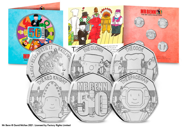 Mr Benn 50th Anniversary BU 50p Coin Set Product Images Main Image - As if by magic…Mr Benn 50p coins appeared!