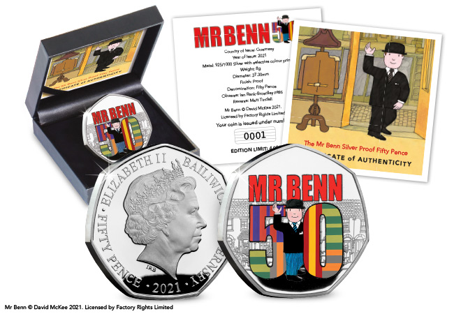Mr Benn 50th Anniversary Silver Proof 50p Coin Product Images Coin with Packaging - As if by magic…Mr Benn 50p coins appeared!